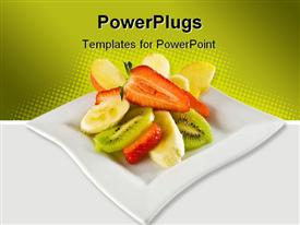 Summer fruit salad on a square dish template for powerpoint