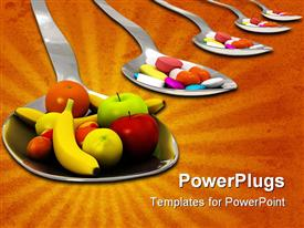 PowerPoint template displaying healthy nutrition instead of a spoon of pills - concept - 3D render in the background.