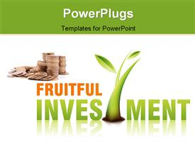 PowerPoint template displaying lots of gold coins with a growing plant and some text