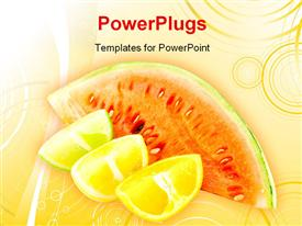 PowerPoint template displaying a number of fruits with an orange background