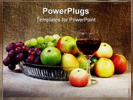 PowerPoint template displaying classical still-life with fruit and a glass against a canvas in the background.