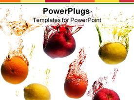 PowerPoint template displaying crystal clear water splashing from a fruit in the background.