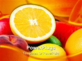 PowerPoint template displaying a pile of fresh apples, oranges and water melons