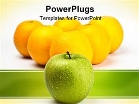 PowerPoint template displaying a number of lemons and an apple in front