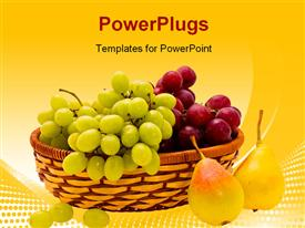 Ripe pears and grape of the miscellaneous sort powerpoint design layout