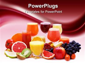 PowerPoint template displaying healthy diet concept with multitude of various freshly cut fruits, vegetable and fruits, glasses of fresh juice made of fruits and vegetables, on gradient burgundy and white background