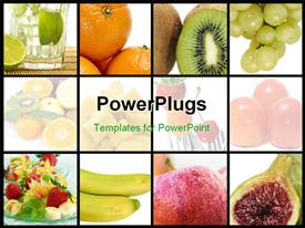 PowerPoint template displaying collage of nine depictions of different fruits in the background.