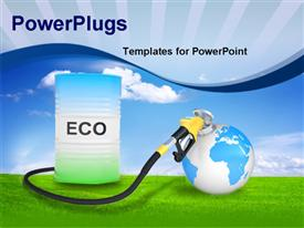 PowerPoint template displaying fueling Earth From Pump Nozzle