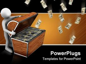PowerPoint template displaying a 3D character opening a chest filled with dollar bills
