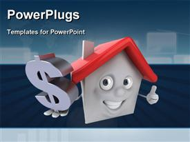 PowerPoint template displaying a house with a dollar sign and bluish background