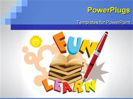 PowerPoint template displaying abstract funky education background with books, pen in the background.
