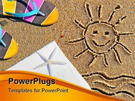PowerPoint template displaying the drawing of a smiling sun on the sand