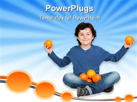 PowerPoint template displaying funny child with many oranges in the background.