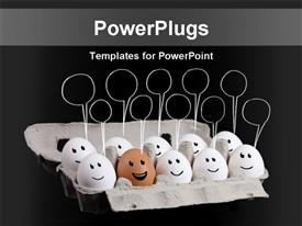 PowerPoint template displaying funny faces on a group of white eggs with one brown egg and message bubbles