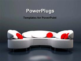 PowerPoint template displaying beautiful white sofa set in the background.