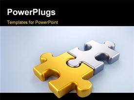 PowerPoint template displaying joined gold and silver puzzle pieces in the background.