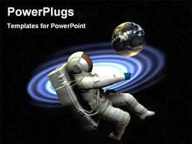 PowerPoint template displaying a depiction of an astronaut in space close to Earth