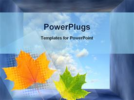 PowerPoint template displaying two green and yellow leaves with clouds in the background