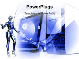 PowerPoint template displaying blue Robot and computer technology mix in the background.