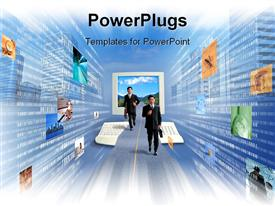 PowerPoint template displaying business men and the future