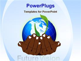 PowerPoint template displaying a pair of brown colored hands holding a globe