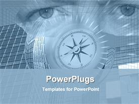 PowerPoint template displaying digital representation of a face and a compass