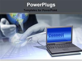 PowerPoint template displaying future presentation with laptop