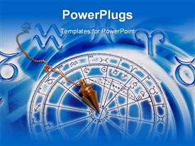 PowerPoint template displaying gold pendulum lying on beautiful blue astrological background