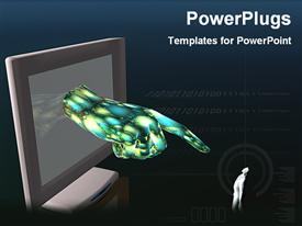 Graphics hand from monitor powerpoint design layout