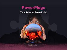 PowerPoint template displaying lady seeing future thru a crystal ball in the background.