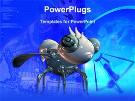 PowerPoint template displaying robot bug in a blue background