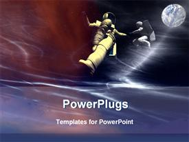 PowerPoint template displaying two astronauts in space with moon, globe, Planet Earth