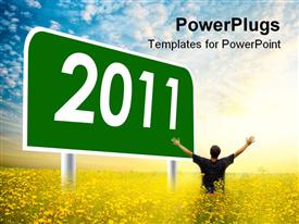 Year 2011 sign post against cloudy blue sky template for powerpoint