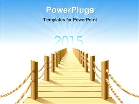 PowerPoint template displaying path to year 2015 with glow effect and sky in the background