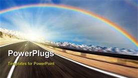 Road with motion blur and rainbow powerpoint design layout