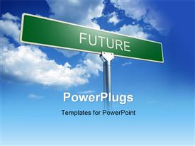 PowerPoint template displaying green FUTURE signpost over blue cloudy sky