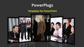 PowerPoint template displaying a number of people in the background with place for text - widescreen format
