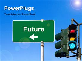 PowerPoint template displaying future Sign Concept with Green Street Light