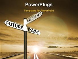 PowerPoint template displaying signpost with Future, Past & Present directions against the sky