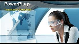 PowerPoint template displaying a business lady focusing on the interface to get information