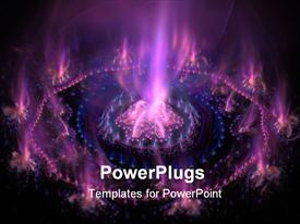 PowerPoint template displaying futuristic purple with blue burning energy. High detailed rendered artwork