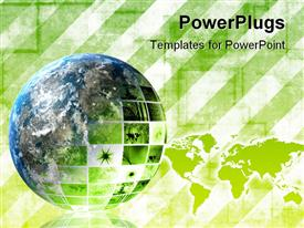 PowerPoint template displaying green colored earth globe on a light green background