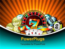 PowerPoint template displaying depiction of gambling with chips cards and gold coins on rolling table