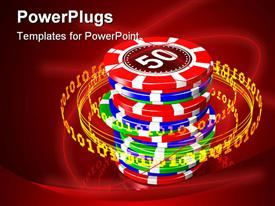 PowerPoint template displaying glowing orange ring of binary digits orbiting around a stack of colorful poker chips in the background.