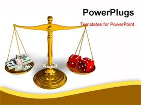 PowerPoint template displaying stack of dollars and red game cubes on golden weight scales in the background.