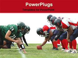 PowerPoint template displaying two rugby teams with a rugby ball