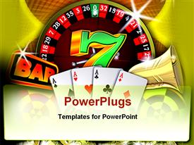 PowerPoint template displaying casino theme with roulette, four ace cards, bar, bell and seven symbols