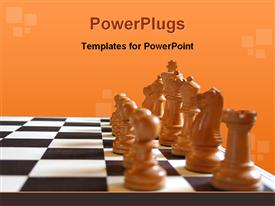 Chess pieces on the board at the start of the game template for powerpoint