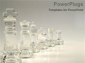 Crystal pieces of chess template for powerpoint