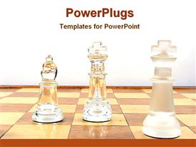 PowerPoint template displaying crystal chess pieces arranged on board against white background